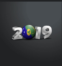 2019 grey typography with christmas island flag vector