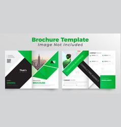 Abstract bifold business brochure design green vector
