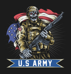 american soldier with skull face vector image