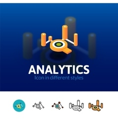 Analytics icon in different style vector image