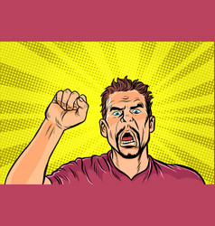 angry protester rally resistance freedom vector image