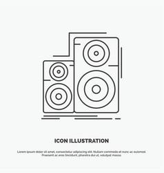 Audio hifi monitor speaker studio icon line gray vector