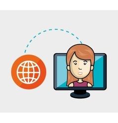 avatar woman and computer monitor vector image