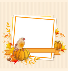 background with pumpkins and bird vector image