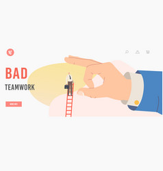 Bad teamwork landing page template business vector