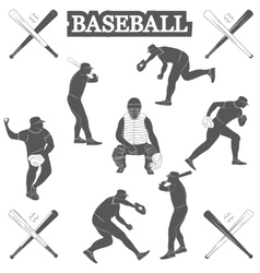 baseball silhouettes on white background vector image