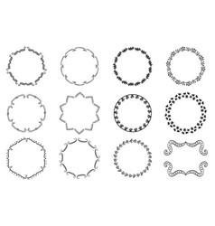 big set decorative hand drawn round frames vector image