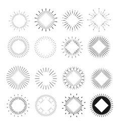 Big set of retro sun burst shapes vector