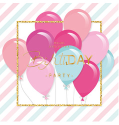 birthday greeting card with colorful balloons and vector image