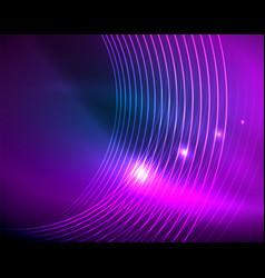 blue neon circles abstract circular lines vector image