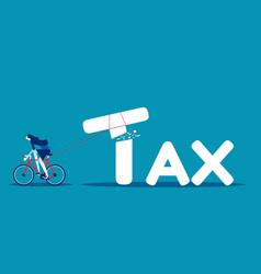 Businesswoman tax cutter concept tax business vector