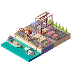 cargo ship unloading in seaport isometric vector image
