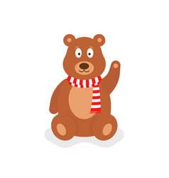 cartoon teddy bear with red scarf vector image