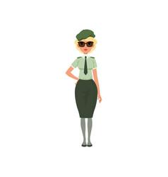 Cartoon woman in formal military dress green shirt vector