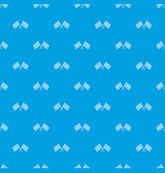 checkered racing flags pattern seamless blue vector image
