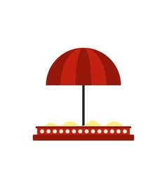 Children sandbox with red umbrella icon vector