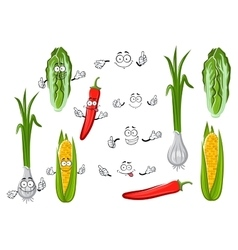 Chilli pepper corn onion and cabbage vector image