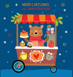 christmas background with cute bear and sweets vector image