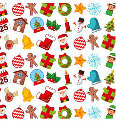 christmas icons pattern background vector image