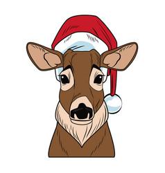 christmas reindeer pop art cartoon vector image