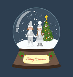 Christmas snow globe with children around vector