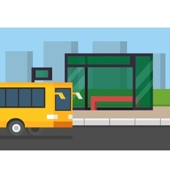 City bus stop Public transport on the road Flat vector