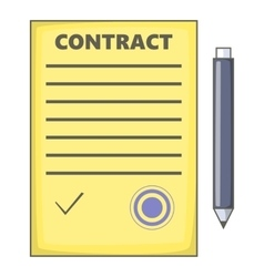 Contract icon cartoon style vector