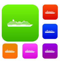 cruise ship set collection vector image