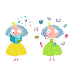 Cute fairy tale princess reading magic books vector