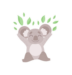 Cute koala bear playing with eucalyptus leaves vector