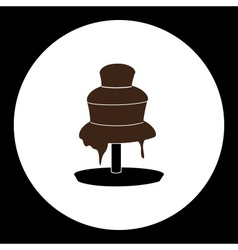 Delicious brown chocolate fountain silhouette icon vector