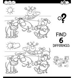 Differences color book with dogs group vector