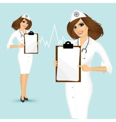 doctor showing clipboard vector image
