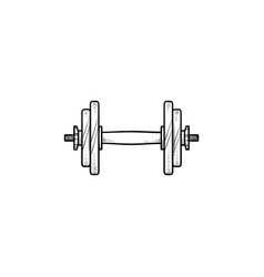 dumbbell for gym hand drawn outline doodle icon vector image