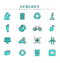 Ecology blue fill icons set vector image