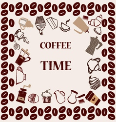 Flat coffee tea set coffee time vector