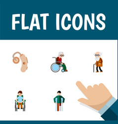 Flat icon cripple set of wheelchair audiology vector