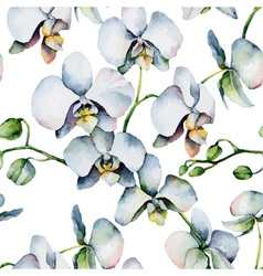Floral pattern Seamless background White orchids vector