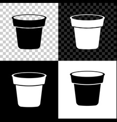 Flower pot icon isolated on black white and vector