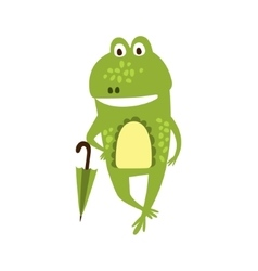 Frog With Umbrella Flat Cartoon Green Friendly vector
