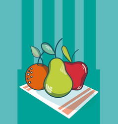 Fruits on tablecloth vector