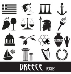 Greece country theme symbols and icons set eps10 vector