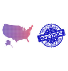 halftone gradient map of usa and alaska and grunge vector image