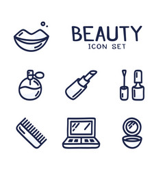 hand drawn cartoon icons set cosmetics beauty vector image