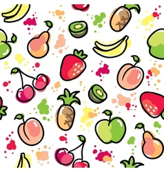 Hand drawn fruits pattern vector