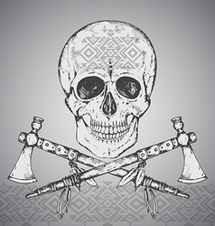 Hand drawn of human skull two tomahawks and ethnic vector image