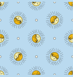 hand drawn sun and moon seamless pattern doodle vector image