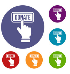 Hand presses button to donate icons set vector