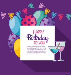 Happy birthday with balloons and party banner vector