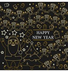 Happy new year greeting card EPS10 Monkeys and sa vector image